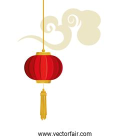 lantern chinese hanging with cloud isolated icon