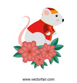 cute rodent rat with clothes chinese and flowers