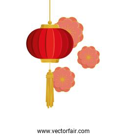 lantern chinese hanging with flowers isolated icon