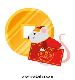 cute rodent rat with chinese card