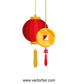 lantern with coin golden chinese hanging isolated icon