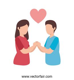young couple with heart avatar character icon