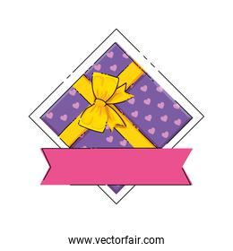 gift box with ribbon isolated icon
