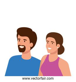young couple avatar character icons