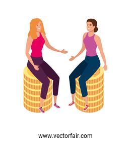 beautiful women sitting in pile coins isolated icon
