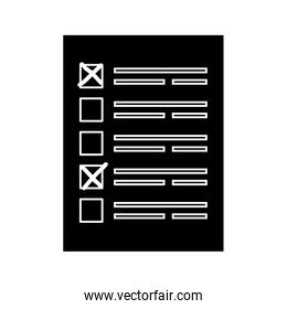 silhouette of vote form with candidates isolated icon