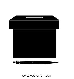 silhouette of ballot box with pen