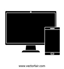 silhouette of computer with smartphone isolated icon