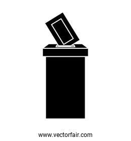 silhouette of ballot box with vote form