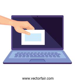 laptop computer for vote online line with hand