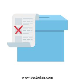 ballot box with vote form isolated icon