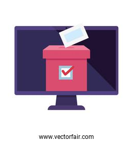 computer with  vote online with ballot box
