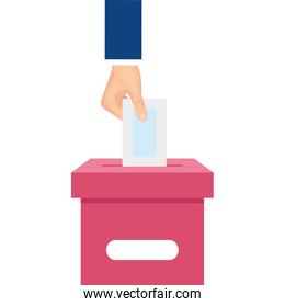 hand with ballot box isolated icon