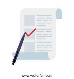 vote form with pen isolated icon