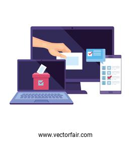 laptop with computer for vote online isolated icon