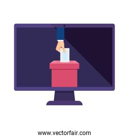 computer and hand with ballot box isolated icon