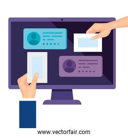 computer for vote online with hands isolated icon
