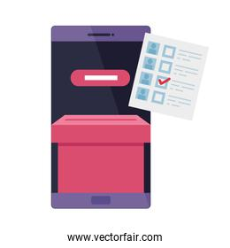 smartphone for vote online isolated icon