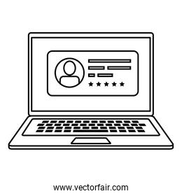 laptop computer for vote online line style icon