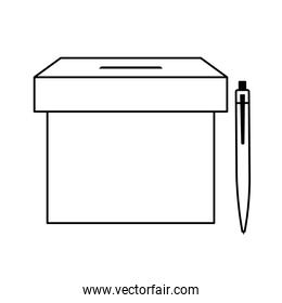 ballot box with pen isolated icon
