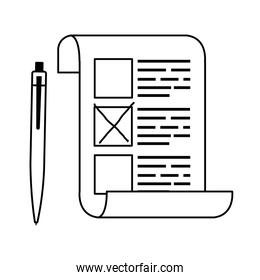 vote form with pen line style icon