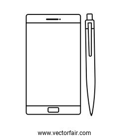 smartphone with pen isolated icon