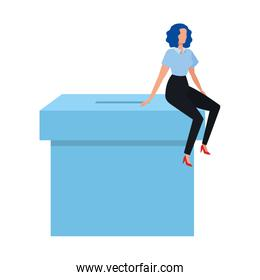 business woman with ballot box isolated icon