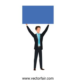 businessmen with protest placard isolated icon