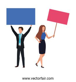 business couple with protest placard isolated icon
