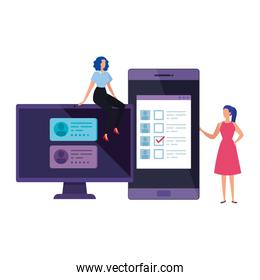 businesswomen with computer and smartphone for vote online
