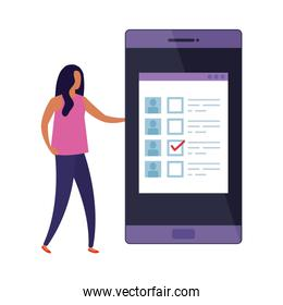 business woman with smartphone for vote online