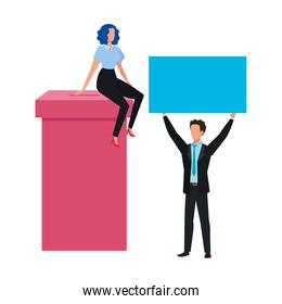 business couple with ballot box isolated icon