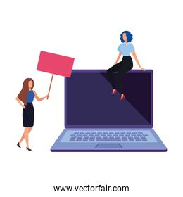 business women with laptop avatar character