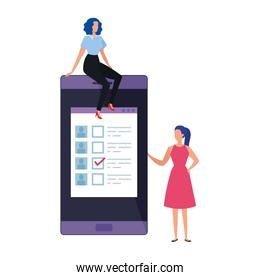 business women with smartphone for vote online