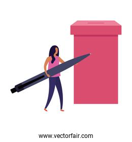 business woman with ballot box and pen