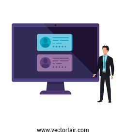businessman with computer for vote online
