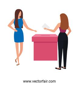 business women with ballot box isolated icon