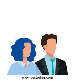 business couple elegant avatar character