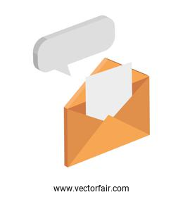 envelope mail with speech bubble isolated icon