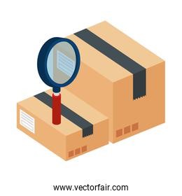 boxes package with magnifying glass