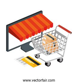 cart shopping and computer with icons