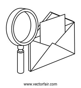 envelope mail with magnifying glass isolated icon