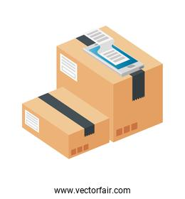 boxes package cargo isolated icon
