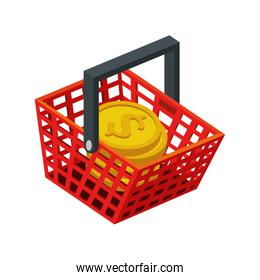 basket shopping with pile coins isolated icon