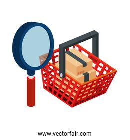 basket shopping with magnifying glass and boxes packages