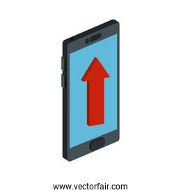 smartphone device with arrow up isolated icon