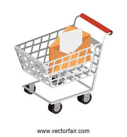 envelope mail with cart shopping isolated icon