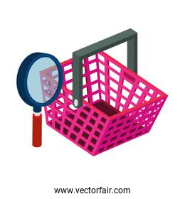 basket shopping with magnifying glass isolated icon
