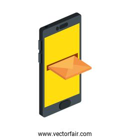 smartphone device with envelope isolated icon