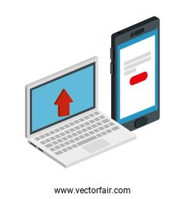 smartphone with laptop isolated icon
